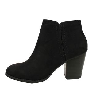 Shoes - Piano Black Faux Suede Stack Block Heel Ankle Boot